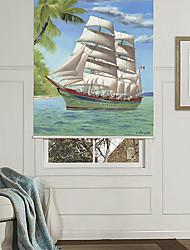 Minimalist Cartoon Style Sailing Ship Roller Shade