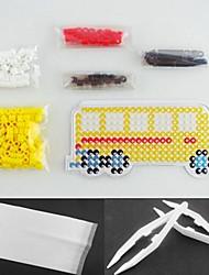 Yellow Bus 5mm Perler Beads Kit Fuse Hama Beads DIY(Suitable Color Beads Set+1 Pegboard+1 Ironing Paper+1 Tweezer)