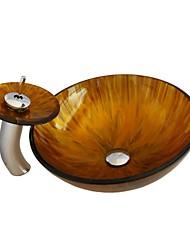 temperado pia vaso de vidro com torneira conjunto cachoeira pia do banheiro, incluindo anel e de drenagem de água de montagem