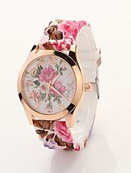 Women's Rose Printed Round Dial Floran Band Elegant Dress Watch C&D24