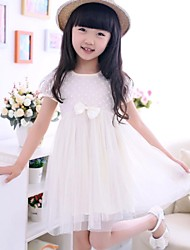 Girls' Princess Dress with Rounded Collar and Short Sleeves of High-waisted Bowknot Veil