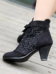 Chaussures Femme - Habillé - Noir / Bleu - Gros Talon - Bout Arrondi - Bottes - Similicuir