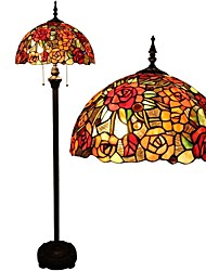 Tiffany Floor Lamp With Staine Glass And Glass Beads