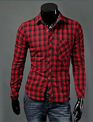 Men's Plaids Casual / Work / Formal Shirt,Cotton Long Sleeve Black / Green / Red