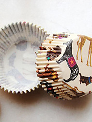 Circus Animals Pattern Cupcake Wrappers-Set Of 50
