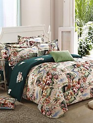 H&C ®  Thicken Cotton Sanded Fabric Duvet Cover Set  4 Pieces Flower Pattern Green Multi-Color