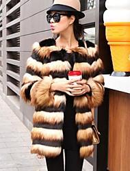 Women's Winter 2014 Fashion Faux Fur Imitation Fox Fur Striped Black And Yellow Stitching Sleeve Of Long Coat Cloak
