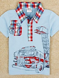 Children's Turn-down Collar Fashion T shirt Short Sleeve Sports T shirt Car Printed Summer Boys Tees Random Print