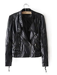 Women's Turn-down Collar Black Long Sleeve PU Leather Jacket