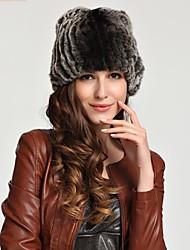moda vera pelliccia genuina del coniglio del cappello kintted berretto beanie shapka delle donne