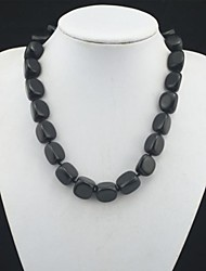 Toonykelly® Fahionable Natural Real Black Agate Stone Bead Necklace(1 Pc)
