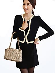 de manga larga de moda color sólido equipado vestido dos piezas conjunto