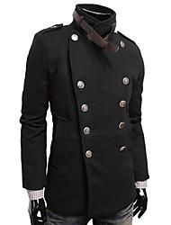 lesen trespassado forma sólida ocasional cor dos homens engrossar casaco tweed o