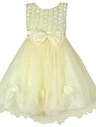 Robe Fille de Fleur Coton Organique / Organza Toutes les Saisons Jaune