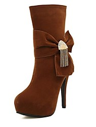 Women's Shoes Shimandi Round Toe Stiletto Heel Suede Mid-Calf Boots with Bowknot More Colors available