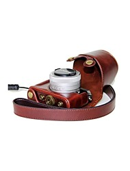 Dengpin® Leather Protective Camera Case Bag Cover with Shoulder Strap for Panasonic LUMIX DMC-GM1 with 12-32mm Lens