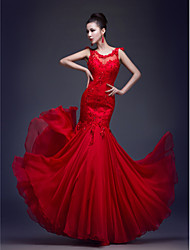 Mermaid / Trumpet Illusion Neckline Floor Length Chiffon Lace Formal Evening Dress with Beading Appliques by CHQY