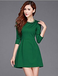 Songyi Western Style Fashion Pure Color Bodycon Base Dress