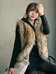 Women's Gradient Color Short Fashion Fur Coat Vest