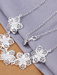 Lucky Doll Women's All Matching 925 Silver Plated 3D Flower Tassel Necklace