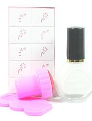 4PCS DIY Nail Art Stamping Kits(White Stamping Polish & Random Pattern Stamping Image Template)
