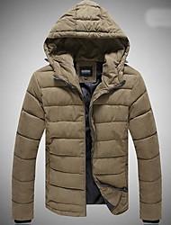 Men's Regular Parka Coat , Others Pure Long Sleeve