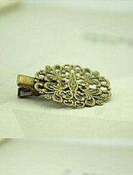 European Style Retro Nostalgia Copper Oval Flower Hairpin
