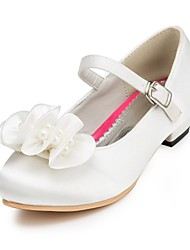 Girl's Heels Spring Summer Fall Winter Comfort Satin Wedding Flat Heel Pearl Pink Red Ivory White