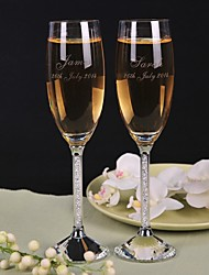 Personalized Toasting Flutes Transparent Diamond Shank - Set of 2