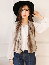Sleeveless Collarless Artifical Leather Casual Occasion Jacket