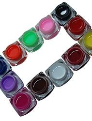 12PCS Mixs Pure Color UV Color Gel for Manicure Nail Tips(8ml)