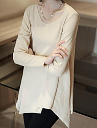 Women's Casual/Daily Simple Spring / Fall / Winter Blouse,Solid Long Sleeve Blue / Beige / Black Medium
