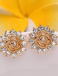 flor moda ouro rosa brincos folheados a ouro (dourado) (1par)