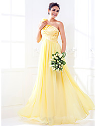LAN TING BRIDE Floor-length One Shoulder Bridesmaid Dress - Elegant Sleeveless Stretch Satin Georgette