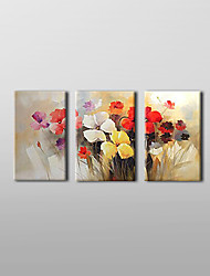 Oil Painting Floral Blooming Flowers with Stretched Frame Set of 3 1308-FL0733 Hand-Painted Canvas
