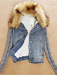 Women's Detachable Artificial Fur Collar Denim Outerwear