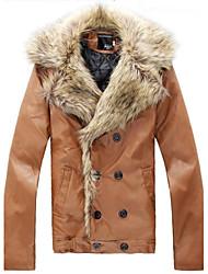 Men's Korean Version Of The PU Leather Slim Coat Imitation Fox Fur And Leather Jacket  O
