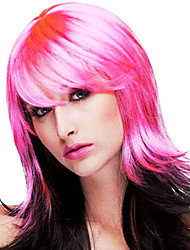 Pink & Black Mixed Color Long Curly 50cm Women's Masquerade Party Wig