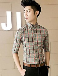 Men's Korean Style 7 Minutes Of Sleeve Of Slim  Plaid Shirt