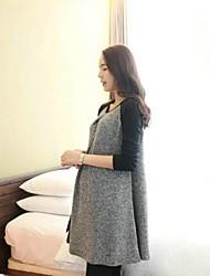 мода досуга круглым воротом сращивания по беременности и родам в с длинными рукавами платье