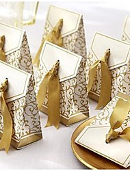 Favor Box With Gold Ribbon (Set of 12)