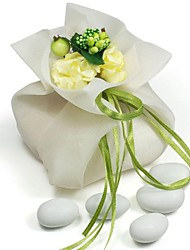 20 PCS Double Layer Cream Chiffon Wedding Favor Candy Bags Drawstring Pouch with Green Handmade Flower