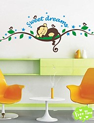 ZOOYOO® removable colorful cute monkeys sleep on branch 3D wall sticker home decor wall stickers for kids/living room