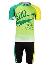 nouvelle action anti-uv zéro respirant lycra de polyester à manches courtes vélo maillot de lune hommes - jaune et vert