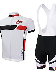 xaoyo polyester respirant cycles courts de douille dossard hommes costume blanc + noir
