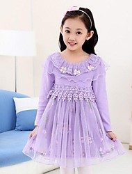 Girl's Solid Dress,Cotton / Lace / Mesh Winter / Fall Pink / Purple