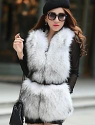 Women's Imitate Large Raccoon Fur Collar PU Leather Vest Coat