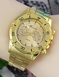 Модные мужские 45мм круглый циферблат из нержавеющей стали ремешок для часов наручные часы золотой (1шт) б стиль