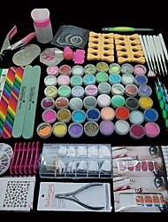 96PCS Pro Manicure Decoration Acrylic Glitter Nail Art Tips Tool Kit Set