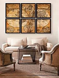 Retro Map Framed Canvas Print Set of  6